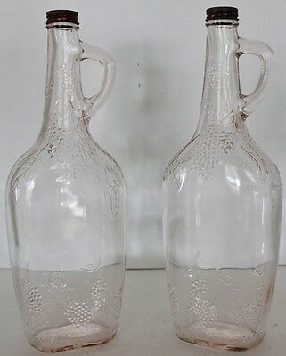 "2 vtg glass bottles raised grapes orig metal cap - 12"" Tall"