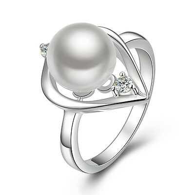White Sapphire 925 sterling silver Plated Luxury Pearl band ring Size 7 R387