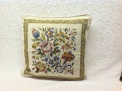 Vintage Throw Pillow TAPESTRY Flowers 16x16 Cream Background