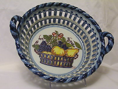 Tichelaar Makkum polychrome fruit bowl pierced sides roped handles