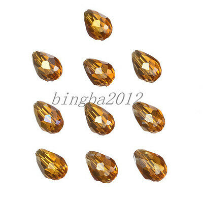 Lovely Teardrop 10pcs 8x12mm charms glass crystal loose spacer beads amber