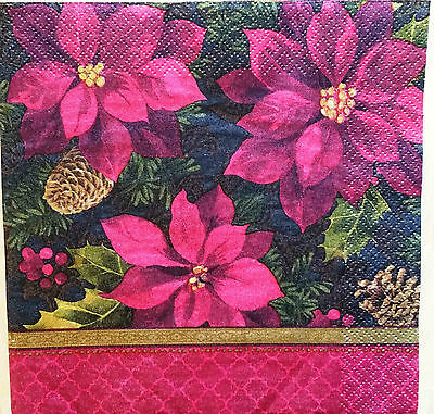THREE (3) Poinsettia Paper Luncheon Napkins for Decoupage and Paper Crafts