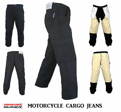 Black Motorcycle Motorbike Cargo Pants Jeans Reinforced Lining Straight Denim