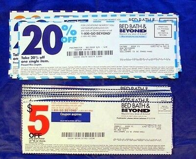 30 Bed Bath Beyond Coupons Coupon Lot: (15) $5 Off $15 & (15) 20% One Item