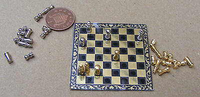 1:12 Metal Chess Set & Board Dolls House Miniature Toy Game Accessory