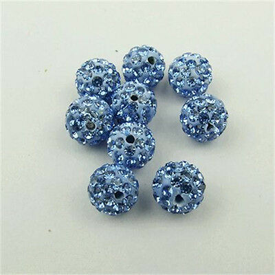 New 5pcs 10MM CZ Crystal Clay FOR Pave Disco Balls Beads Color light blue