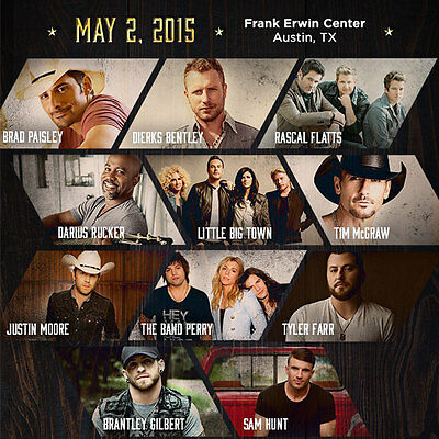 (2 Tickets) 2015 iHeartRadio Country Music Festival-Tim McGraw, Sam Hunt + More!