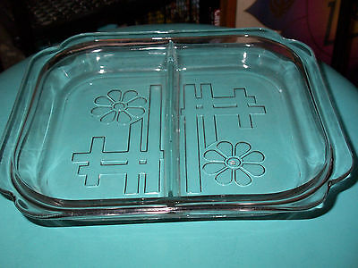 MID CENTURY MOD DAISY FUNKY DIVIDED CLEAR GLASS SERVING DISH~PICKLE~OLIVE~