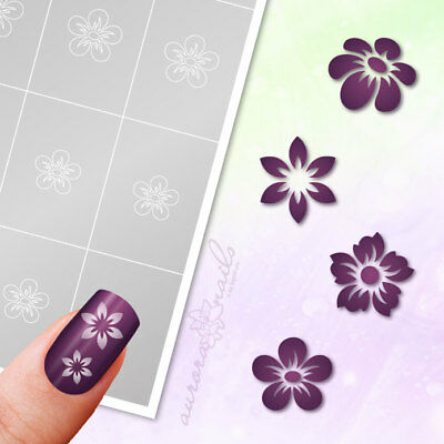 Airbrush + Nailart Stencils SET27 Flower Floral 80 Pieces Adhesive Set