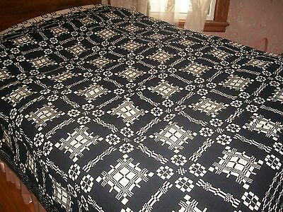 """ANTIQUE REVERSIBLE COVERLET LAYERED BLUE& WHITE WOOL HAND WOVEN  90""""X92"""" 1900'S"""