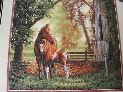 DIMENSIONS GOLD MARE & FOAL HORSE COLT COUNTRY FARM ANIMAL CROSS STITCH KIT NEW