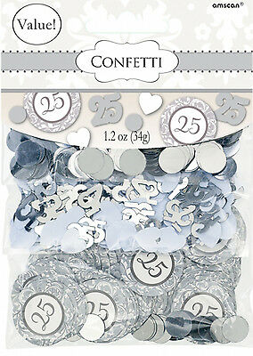 Silver Wedding Table Confetti 25th Anniversary Table Decorations Value Pack