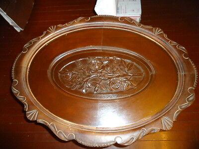 VINTAGE WOODEN OVAL COFFEE SERVING TABLE ENGRAVING