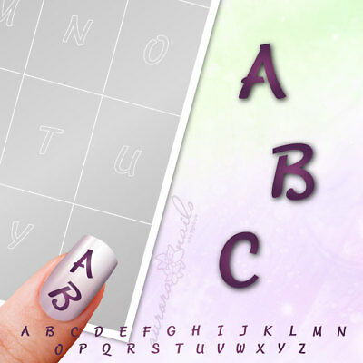Stencils Airbrush + Nailart BST02 Alphabet Letter Script 100 Pieces Adhesive