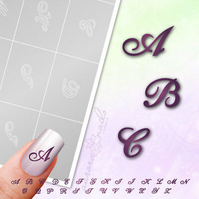Stencils Airbrush + Nailart BST01 Alphabet Letters Script 100 Pieces Adhesive