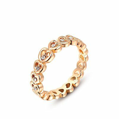 Trendy Austrian Crystal Hearts Rose Gold Plated Jewelry Women Ring US Size 8