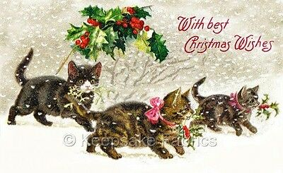 Christmas Cats & Holly Crazy Quilt Block FrEE ShiPPinG WoRld WiDE (C2