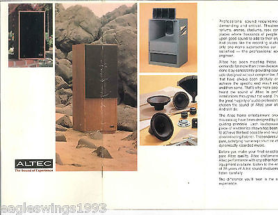 Altec The Sound of Experience - Home Stereo Speakers - FOLDOUT POCKET CATALOG