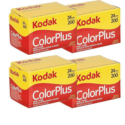 4 Rolls Kodak ColorPlus  200 ASA 135-24 exp Color Plus 35mm Film, US SELLER