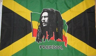 BOB MARLEY FREEDOM FLAG ON JAMAICA NOTTING HILL CARNIVAL 5FT X 3FT 5'x3'