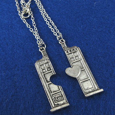 2Pcs Doctor Who Tardis Police Box Heart Couples Necklace For Lovers