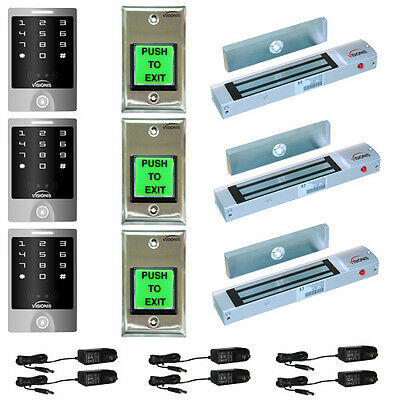 Visionis 5122 Three Door 300lbs Access Control Outswinging Kit Outdoor Keypad
