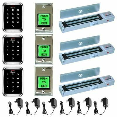 Visionis 5123 Three Door 600lbs Access Control Outswinging Kit Outdoor Keypad
