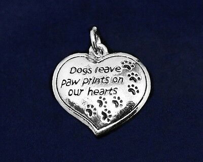 """Sterling Silver Pl Pawprint Charm """"Dogs Leave Paw Prints"""" Rescue Dog Lover Heart"""