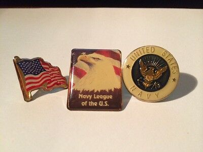 Lot of 3 vintage UNITED STATES NAVY & Navy League metal lapel hat pins