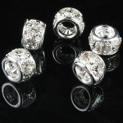 5Pcs High Quality SILVER Rhinestone CRYSTAL BEADS fit European CHARM Gs4