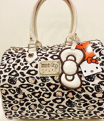 LOUNGEFLY HELLO KITTY  Mauve Leopard Embossed Tote Bag(100% Brand New )