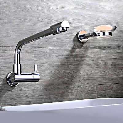 Brass Wall Mounted Single Cold Water Kitchen Faucet Swivel Spout Sink Tap
