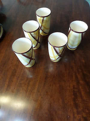 Vernon Kilns Vernonware Tumbler Glass set Organdie Made in the USA Hand Painted