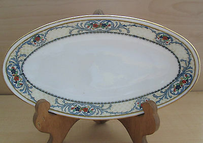 Rare Floral & Berries embossed Crescent England Gravy Boat plate numbered