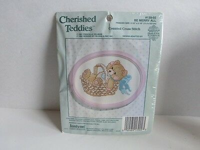 New Cherished Teddies Counted Cross Stitch Be Merry All Teddy Bear in Basket