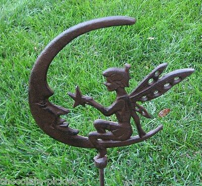 Cast Iron FAIRY Hangs Star*Man in the MOON Face*Yard/Plant Garden Statue Stake
