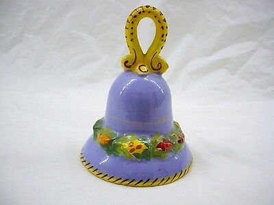 Ceramic Blue and Yellow Fiesta Bell Signed