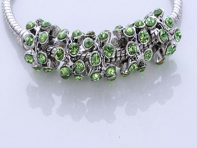 5pcs CRYSTAL Retro silver SPACER BEADS FIT European Beads Charm Bracelet/X12