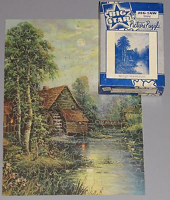 "VTG JIGSAW PUZZLE BIG STAR PERFECT PICTURE ""MILL IN MOONLIGHT"" WATER WHEEL CIB"