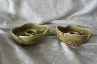 WEST COAST POTTERY-PAIR OF CANDLE HOLDERS-GREEN REDDISH COLOR-#617c-VERY NICE
