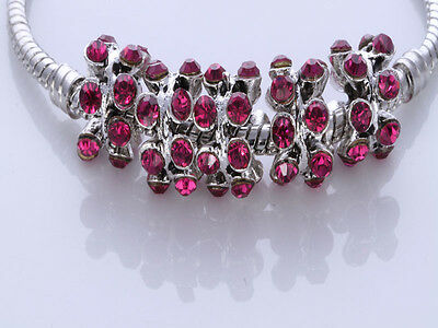 5pcs CRYSTAL Retro silver SPACER BEADS FIT European Beads Charm Bracele/tX11