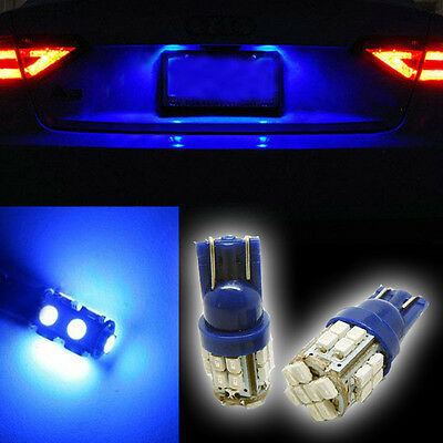 2x 360°Ultra Blue 24-smd T10 168 194 2825 LED Bulbs For License Plate Light HB5