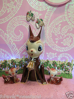 Vtg Christmas Fawn Deer Reindeer SET OF 3 Mama W Fawn Deer On Chains Lipper Mann