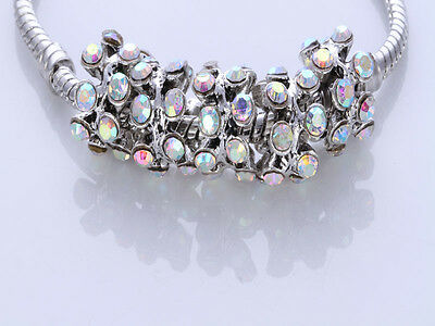 5pcs CRYSTAL Retro silver SPACER BEADS FIT European Beads Charm Bracelet/X10