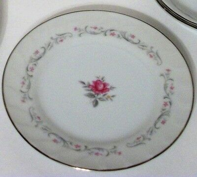 3 ROYAL SWIRL BREAD & BUTTER Plates FINE CHINA OF JAPAN Pink Floral Silver White