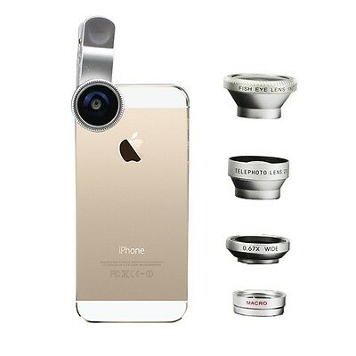 4in1 Fish Eye+Wide Angle Micro Telephoto Lens Camera Clamp Kit for iPhone 5s 6