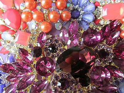 8 PC LOT VINTAGE STYLE HUGE CORAL PURPLE CRYSTAL WEDDING BOUQUET PINS BROOCHES