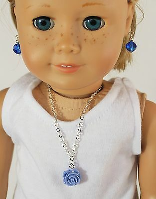 """For 18"""" American Girl Doll Rose Pendant and Pearl Earrings Jewelry, Clothes"""