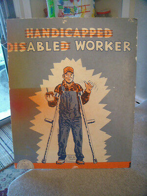 """MILTON CANIFF POSTER """"THE HANDICAPPED DISABLED WORKER"""""""