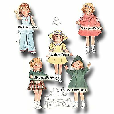 """Vintage Doll Clothes Pattern ~ for 13"""" 14"""" Shirley Temple, Patsy, Composition"""